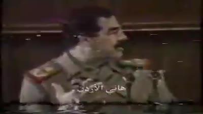 صدام حسين في لقاء صحفي، 13 يناير 1991
