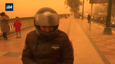 عاصفة التنين في ذروتها، كورنيش النيل، مصر، 13 مارس 2020