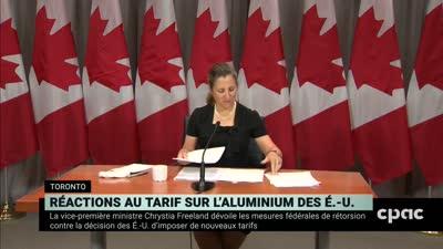 نائب رئيس الوزراء الكندي كريستيا فريلاند تعلن البرنامج المضاد لرسوم ترامب الجمركية، 7 أغسطس 2020