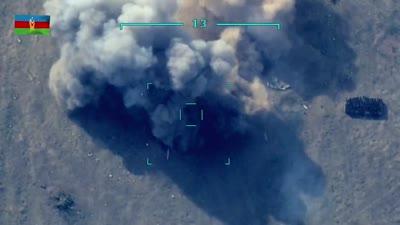غارة أذربيجانية على موقع مدفعية أرميني في نزاع قرة باخ، سبتمبر 2020